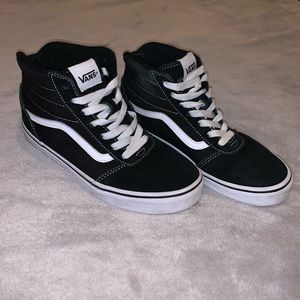 Black/ white vans youth high tops